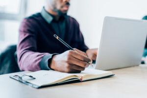 Man researching storytelling tips